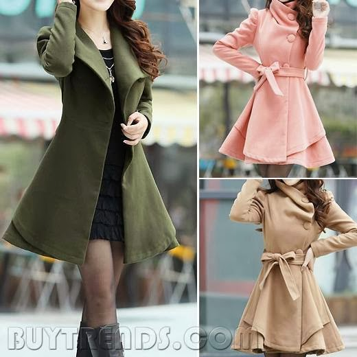 Special Design Wide Turn Down Collar Puff Sleeve Slim Trench Coat