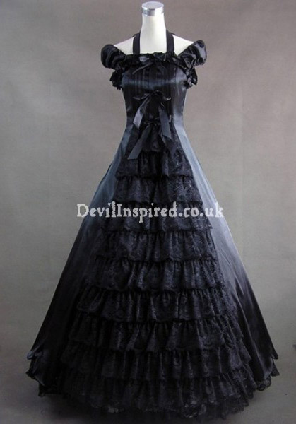 Gorgeous Black Bow and Lace Gothic Victorian Dress