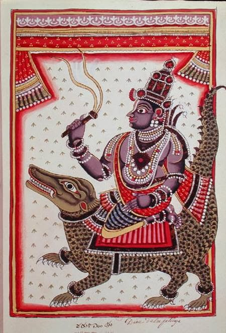 lord varuna god of water  varun devata    In Vedic religion, Varuna or Waruna is a god of the sky, of waters and of the celestial ocean, as well as a god of law and of the underworld. He is one of the most prominent Devas in the Rigveda, and lord of the heavens and the earth. In later Hinduism, he continued his dominion over all forms of the water element, particularly the oceans. He was the son of Kashyap by his wife Aditi. He was appointed by Brahma as the lord of the waters and regent of the western quarter. Varun is mostly associated with the AdityaMitra. Varun had many wives and children. He was married to Devi, the daughter of Shukra and had by her a son named Bal and a daughter namedSurd. He was also married to Gauri and Parnasa. Parnasa and he had a son named Shrutayudh. At the request of his mother Shrutayudh received a divine mace from his father. The sons, Agastya and Vasishth were the sons of Mitra and Varun together. Varun also had two more sons, Pushkar andVandi. Once, enamoured by Bhadra, the wife of sage Utathya, Varun abducted her, but Utathya obliged him to submit and restore her. At Agni'srequest, Varun presented the Pandav prince Arjun with a chariot yoked with horses, the Gandiv bow and two inexhaustible quivers, and Krishna with theKaumodki mace and the Sudarshan Chakra for the burning of the Khandav forest. With the blessings of Varun, Harishchandra had a son. The monkey Sushen was also a son of Varun, created by the latter on the command of Brahma to help Ram.