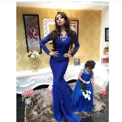 kebaya broklat biru dress panjang dengan anak
