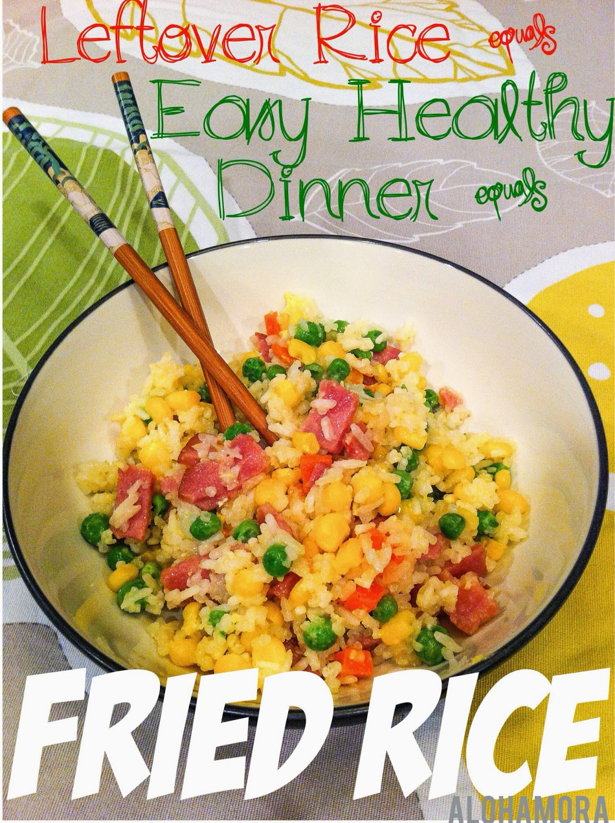 Quick, easy, and healthy Fried Rice using leftover rice.  Alohamora Open a Book http://alohamoraopenabook.blogspot.com/