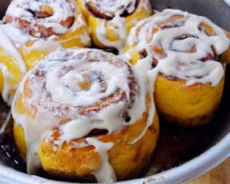 One Perfect Bite: Pumpkin Cinnamon Rolls with Cream Cheese Icing