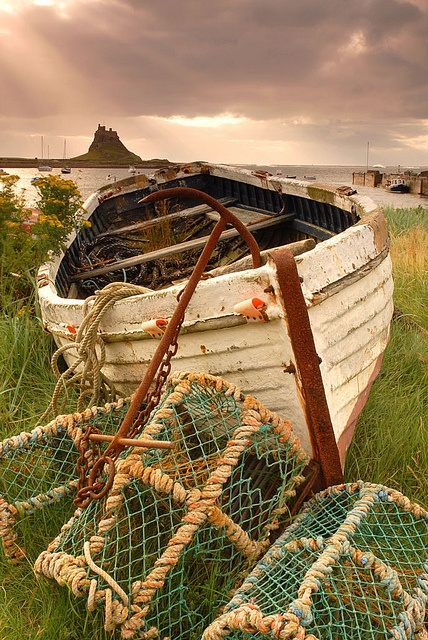 Lindisfarne Castle in the distance, Northumberland, England.