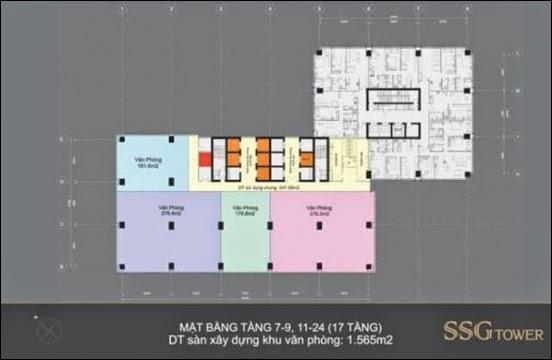 Mặt bằng tầng 7 - 9 , 11 - 24 văn phòng SSG Tower