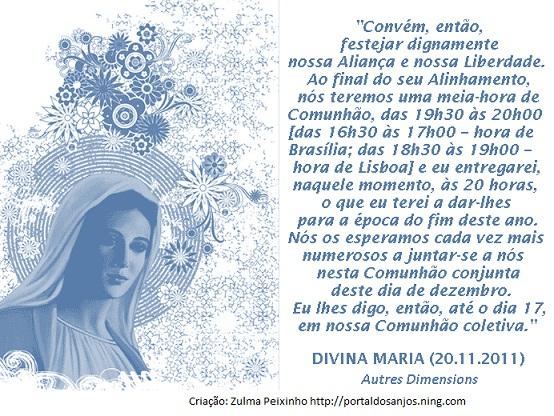 LEMBRETE DE MARIA PARA O DIA 17-12-2011