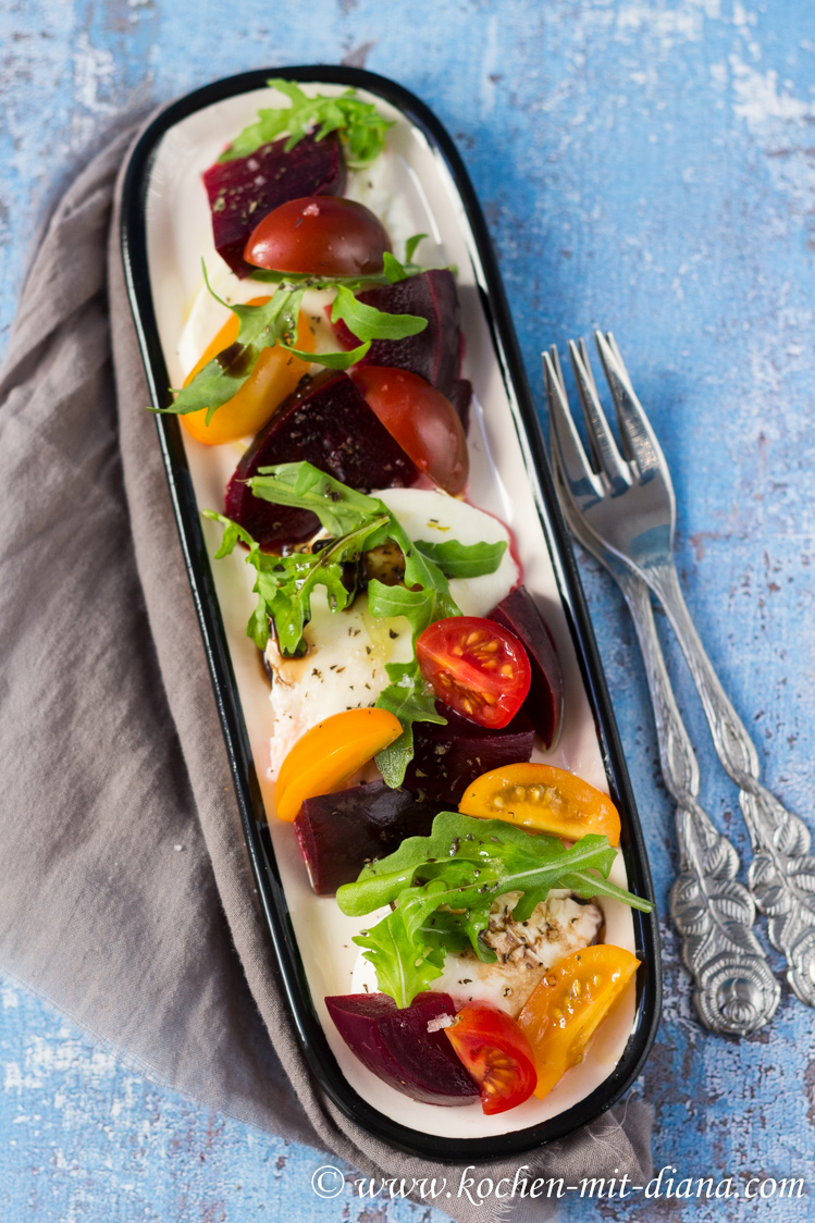 rote beete mozarella tomaten salat kochen mit diana. Black Bedroom Furniture Sets. Home Design Ideas