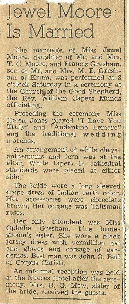 Wordless Wedding Wednesday Francis Edward and Jewel Moore Gresham 1940