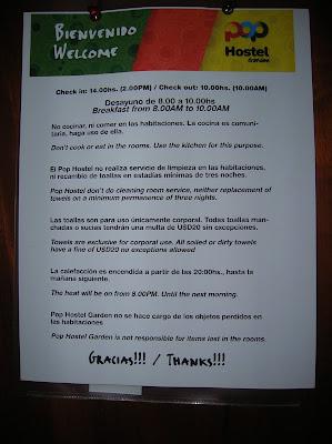 Normas abusivas Pop Hostel Garden, Puerto de Iguazú, Argentina, vuelta al mundo, round the world, La vuelta al mundo de Asun y Ricardo