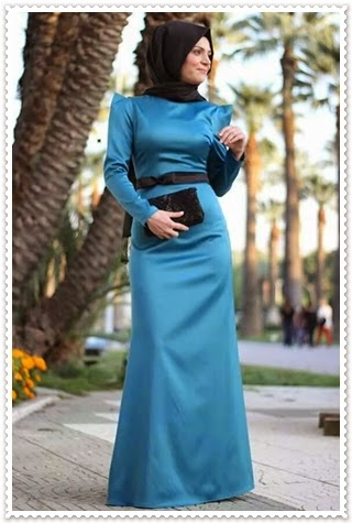 Pınar Akşam Petrol Mavisi Tesettür Elbise (almanya)