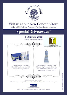 Crabtree & Evelyn NEW Opening Special Giveaways 2012