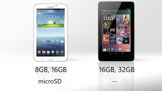 Galaxy Tab 3 vs. Nexus 7 Storage