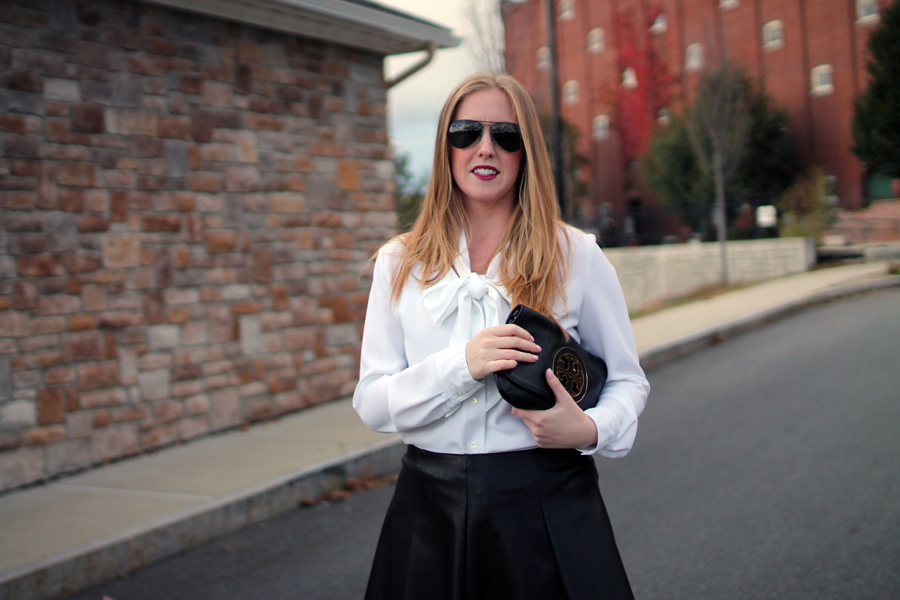 faux leather pleated skater skirt, boston fashion blogger, boston style blog, boston fashion blog, black and white looks, black and white style