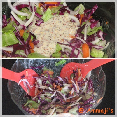 Salad with mustard dressing