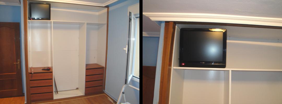 en la zona del maletero del armario para evitar que la ropa caiga lateralmente sobre la televisin cortamos un trozo a