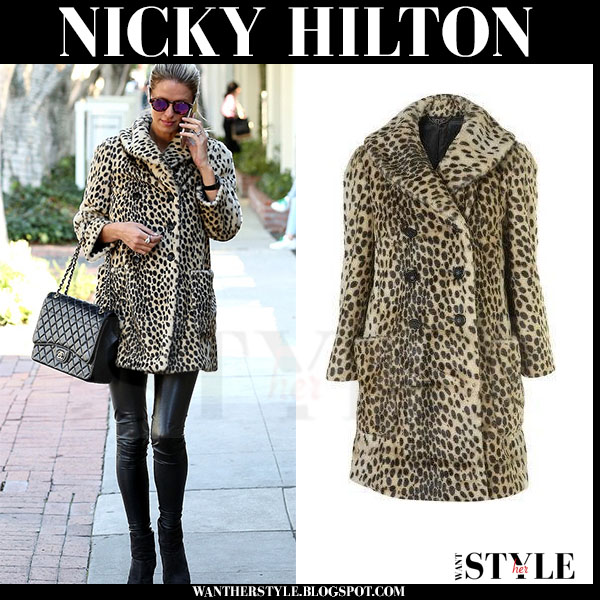 Nicky Hilton in leopard print topshop coat, black leather leggings and black ankle boots rag bone newbury what she wore streetstyle