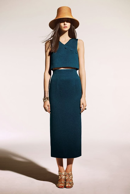 Lyn Devon Spring 2014 Crop top and midi skirt in dark turquoise