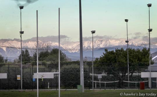 Snow on the Ruahine Ranges, pictured from SH2, Clive. photograph