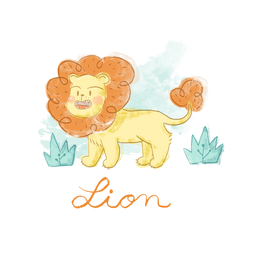 leon, animal, illustration, ilustración, cute animal, leon, selva, children