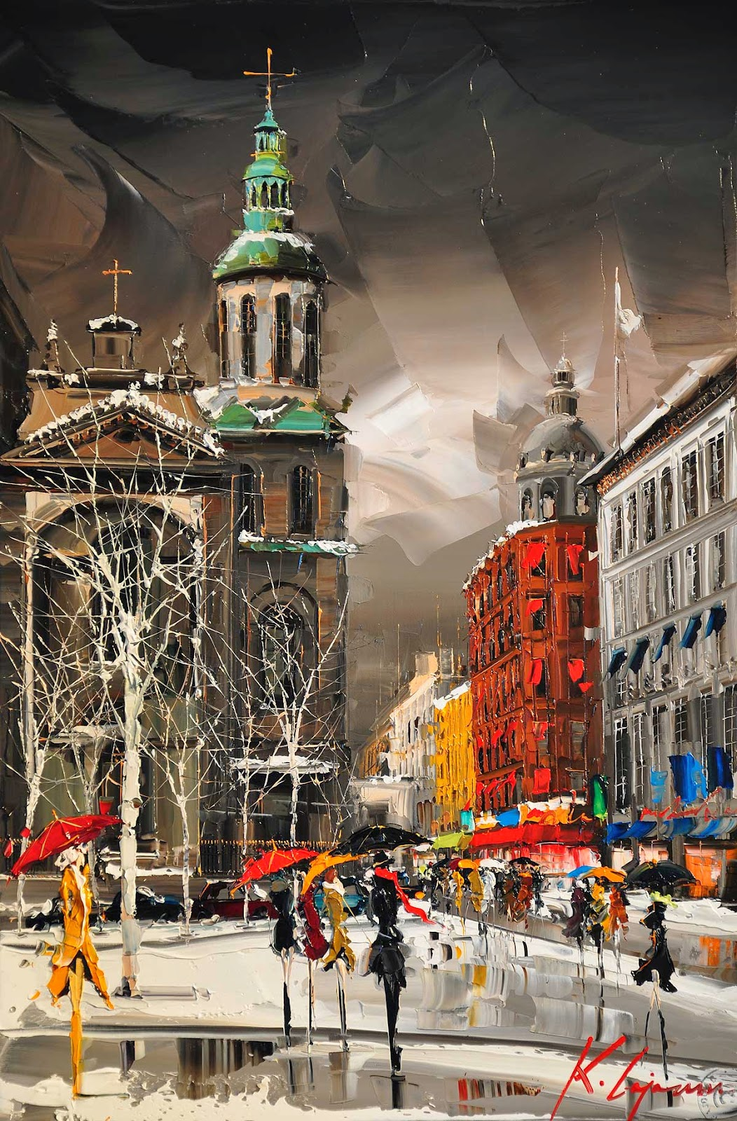 19-Notre-Dame-de-Québec-Kal-Gajoum-Paintings-of-Dream-Like Cities-of-the-World-www-designstack-co