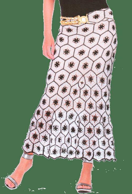 Ажурная юбка с черно-белыми мотивами, связанная крючком