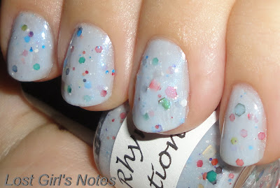 a rhyming dictionary white pearl nail polish swatch