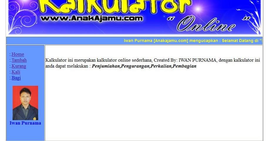 Download Contoh Aplikasi Kalkulator Online PHP - Program