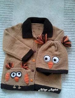 Örgü Çocuk Hirkasi Şapka ve Elbise