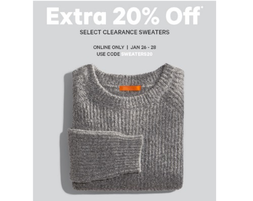 Joe Fresh Extra 20% off Clearance Sweaters Promo Code