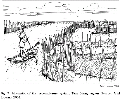 net enclosures and small sampan, Tam Giang Lagoon
