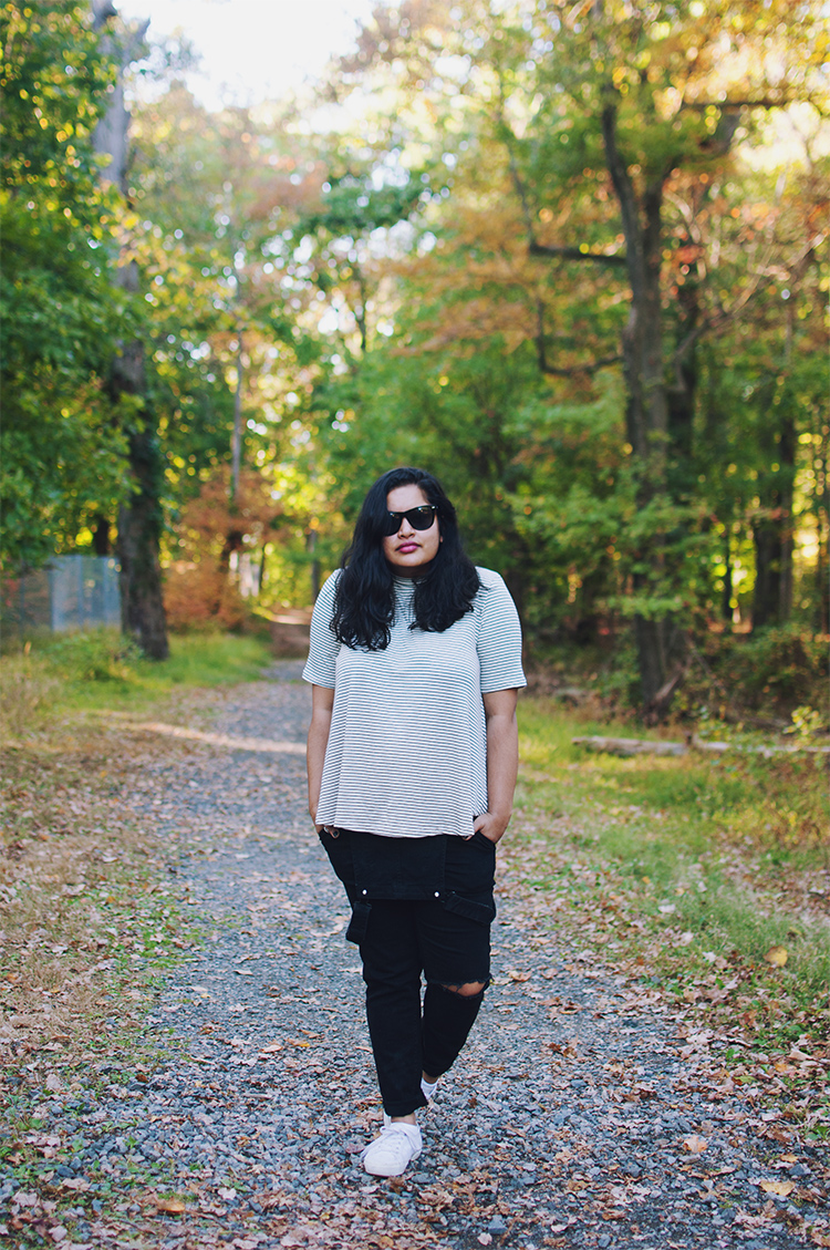 undone overalls, black overalls, white superga, cooperative cruel summer top, mock neck