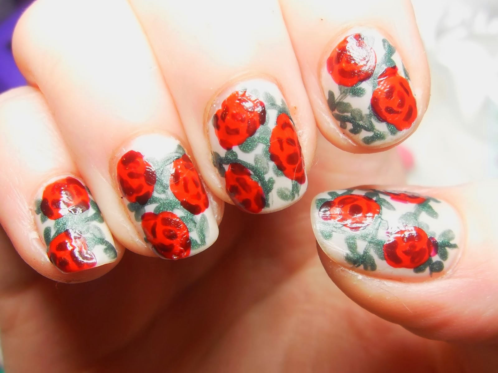 Red And Bule Rose Nail Arthttpnails Sidespot
