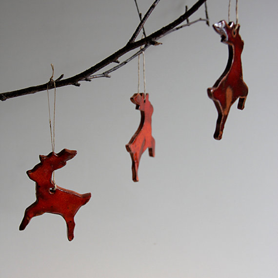 Ceramic reindeer Christmas ornaments by karoArt