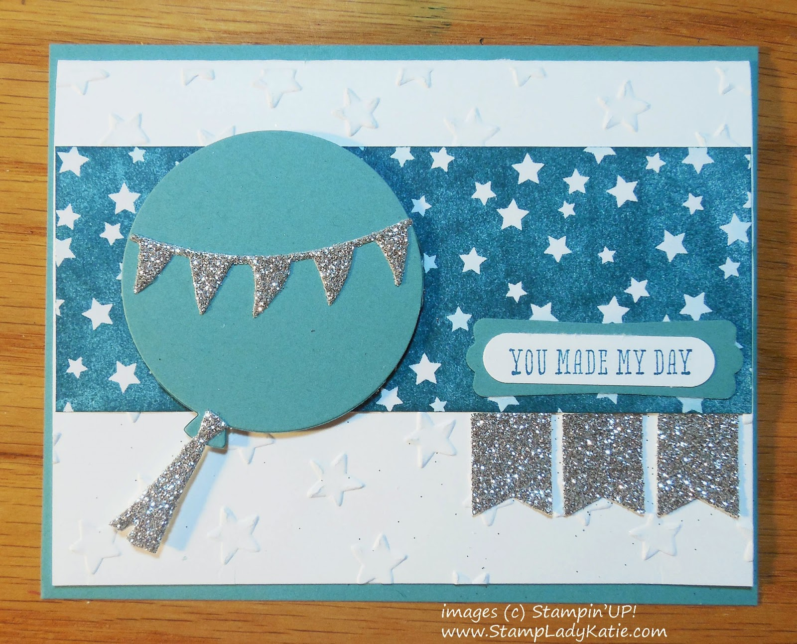 Card made with Stampin'UP!'s Balloon Framelits Dies and Irresistibly Yours DSP
