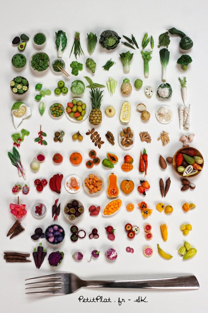 100 days of miniature veggie and fruit sculptures by Stephanie Kilgast