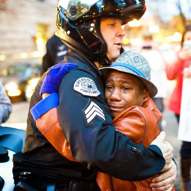 Gone viral: The tearful hug across racial divides