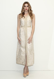 Vintage 1960's gold and nude metallic brocade maxi dress with front slit leg opening.