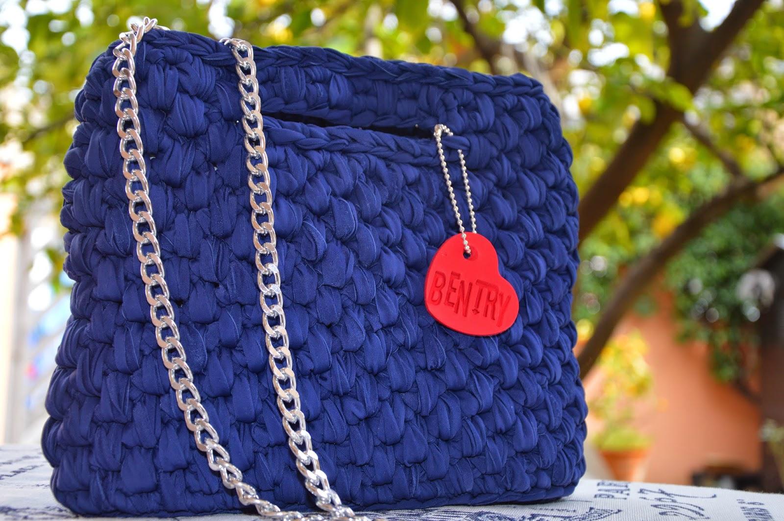 Borsa cotone lucido blu