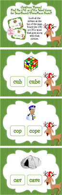 This Christmas-themed game is the perfect way to get your students to practice fine-tuning their ability to read CVC and CVCe words. Students need to identify what picture is at the top of the page and pick which of the two similarly spelled words at the bottom of the page is correct. This game will also help students with reading nonsense words... as some of the words included aren't real! Best of all, this game is self-checking... when students touch the correct answer they'll hear a fun cheering sound!