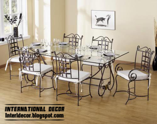 Indoor iron dining tables and iron chairs designs - Table fer forge blanc ...