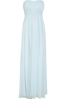 Embellished strapless chiffon gown