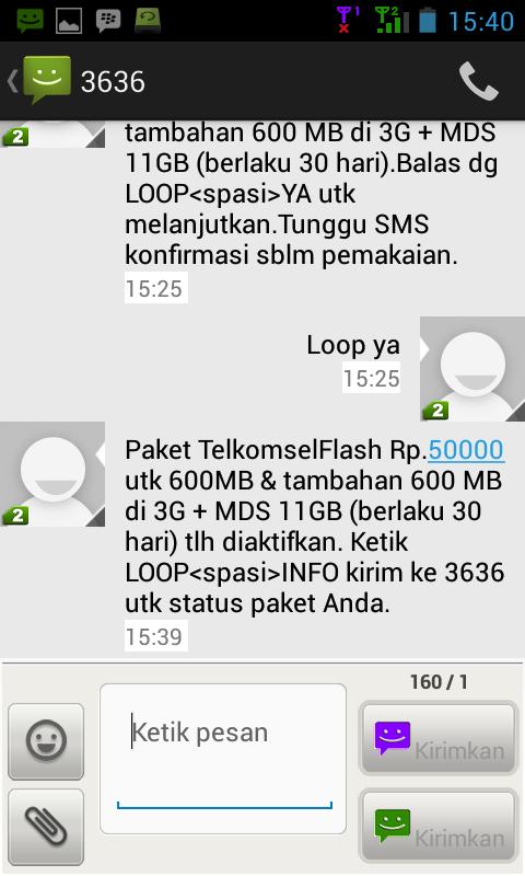 Berikut ini sms pemberitahuan dari 3636 bahwa paket internet sudah