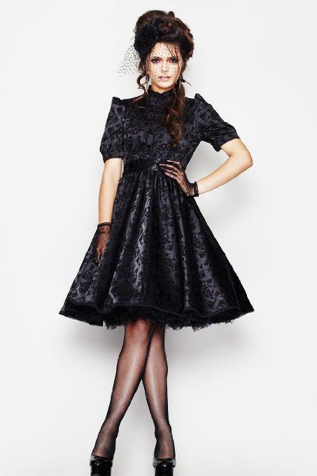 Gothic Black Flocked Taffeta Victorian Steampunk Opeth Dress