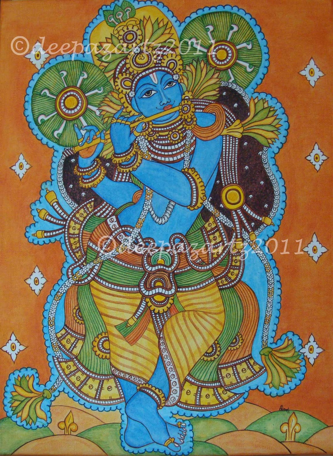 Artists of india lord krishna kerala mural painting by for Art mural painting