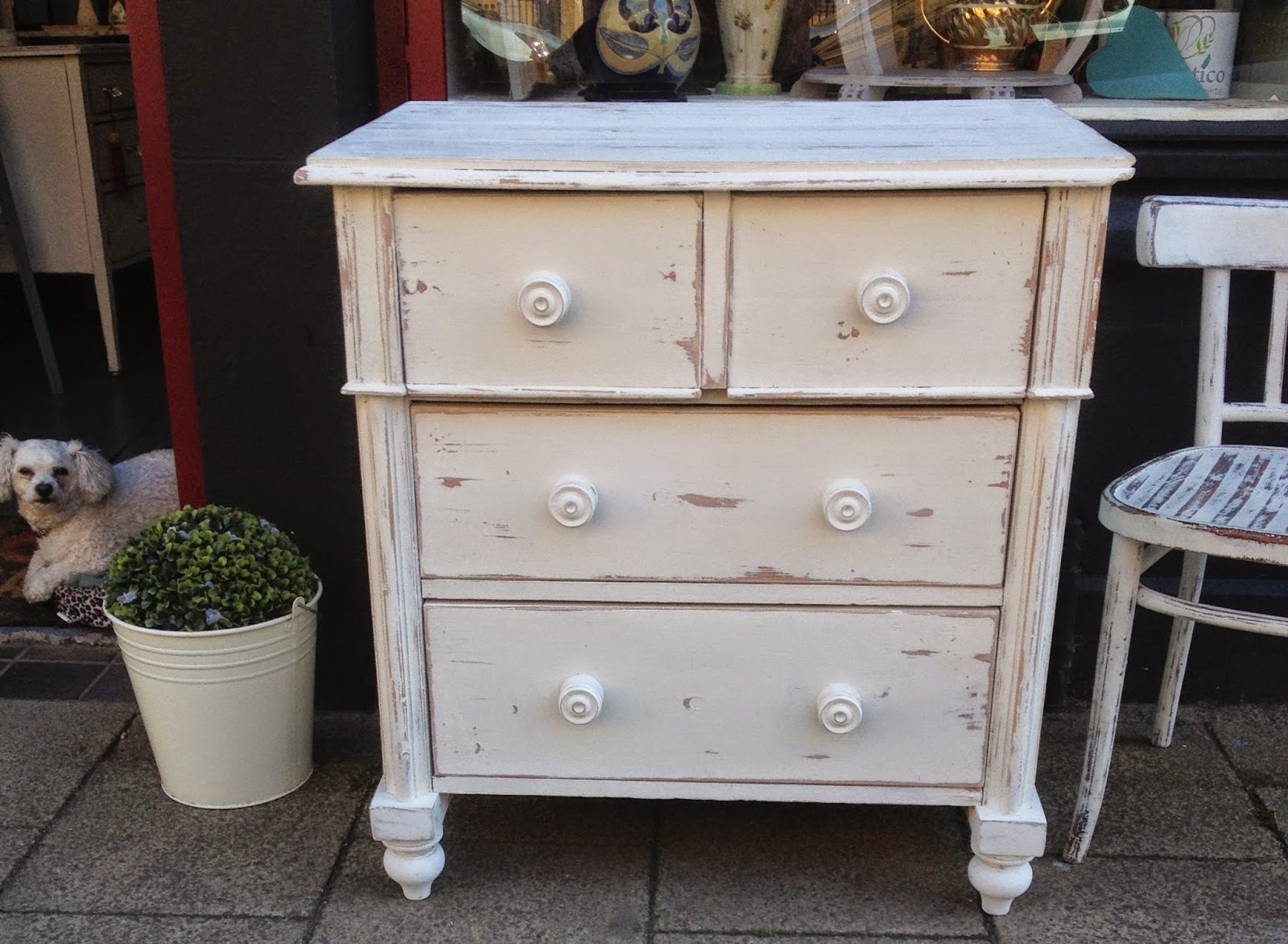 ChouChou Vintage: Pine Chest of Drawers Uber Chic Painted White