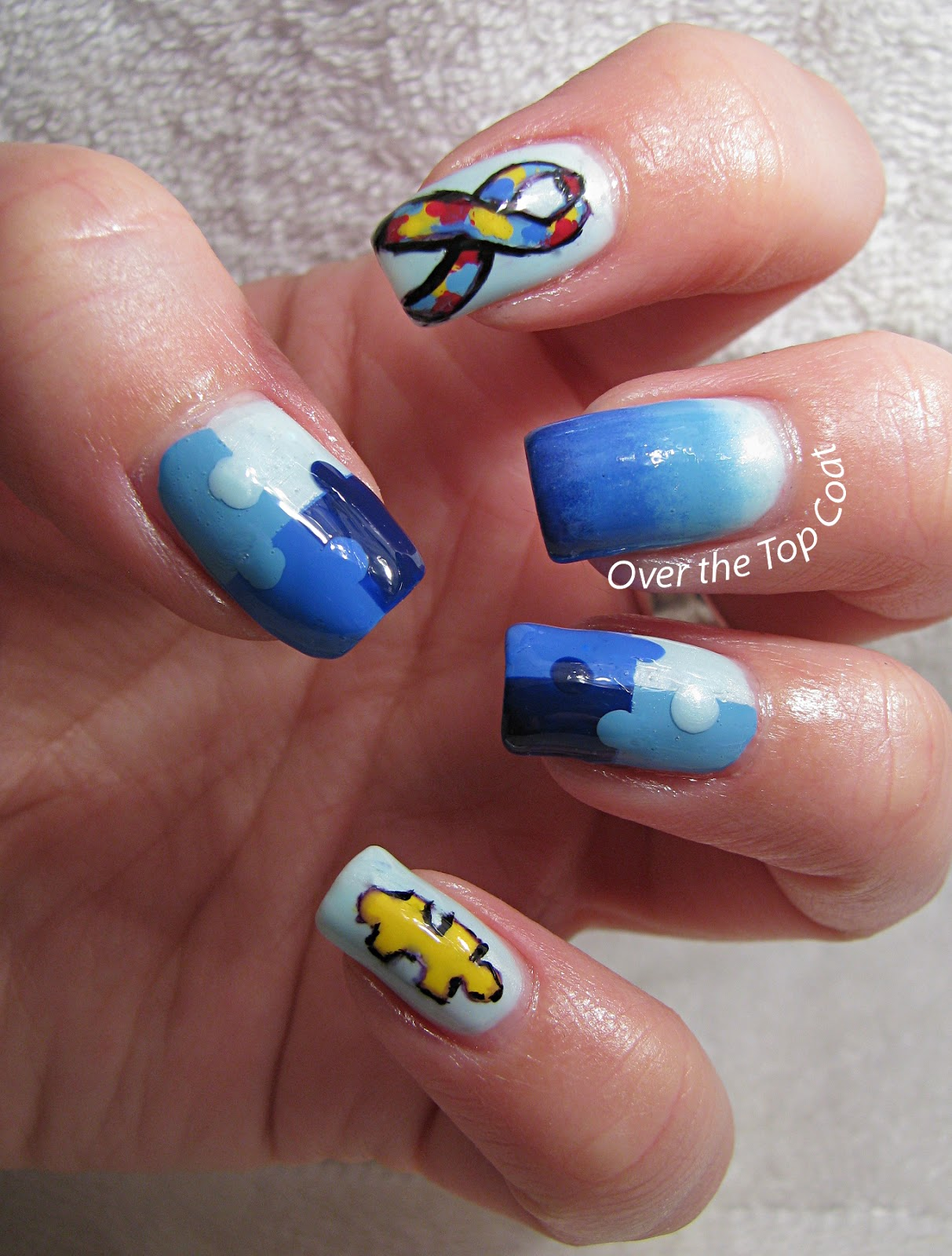 Over The Top Coat: Autism Awareness Manicure