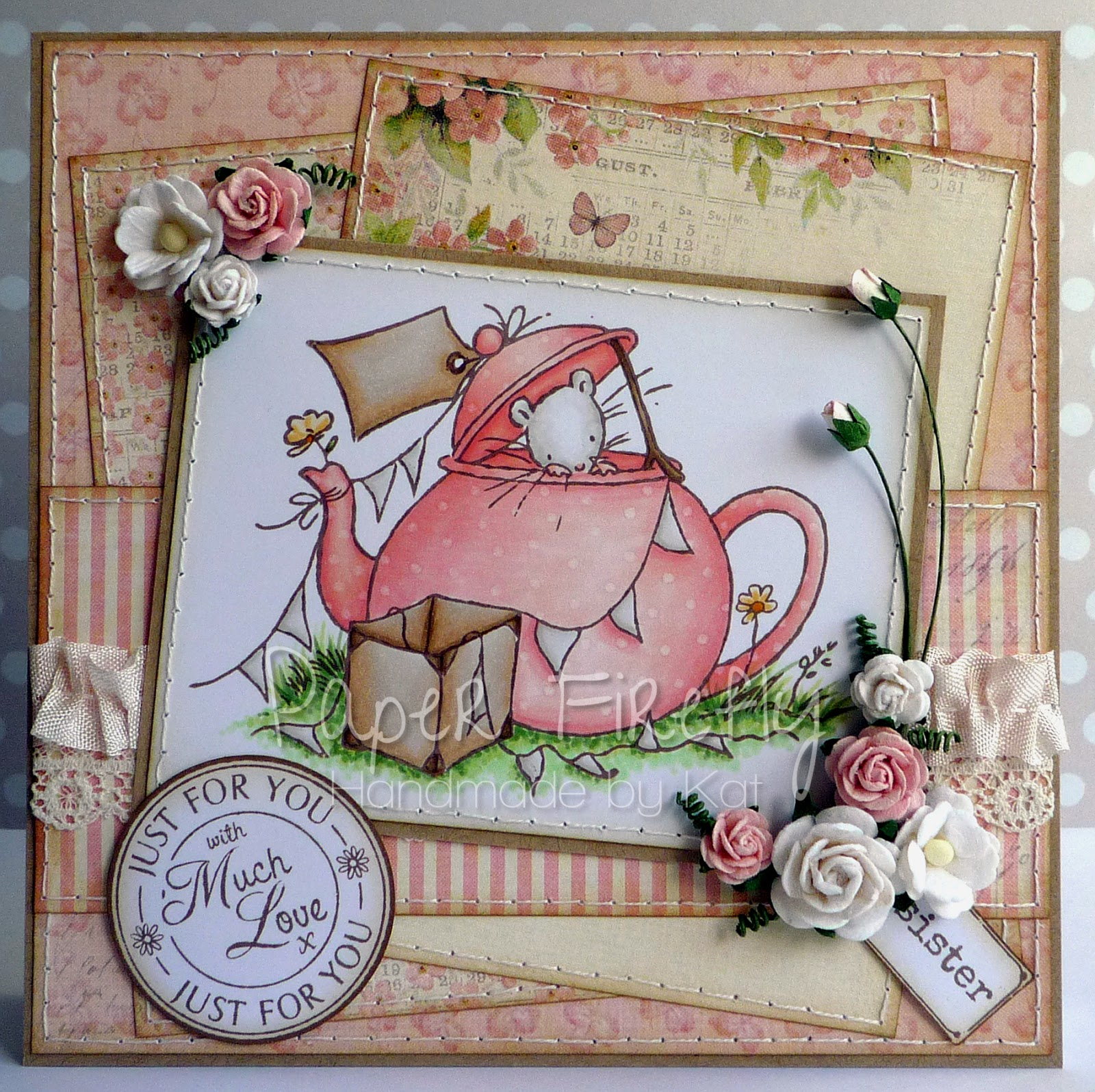 Vintage style pink birthday card with cute image of mouse in teapot