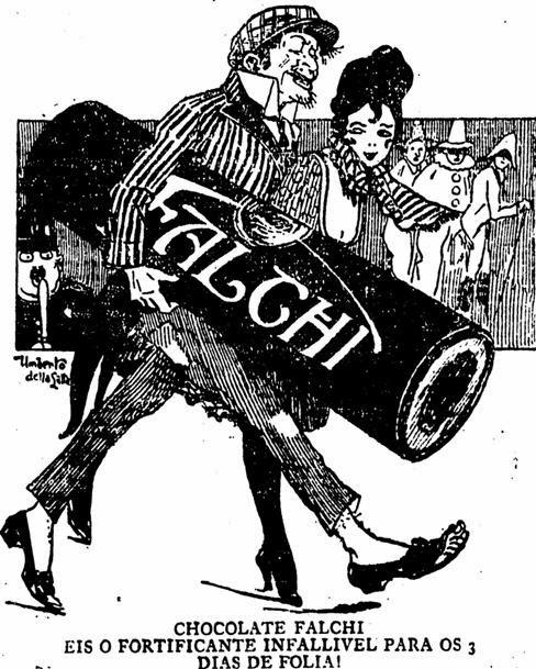 Anúncio do Chocolate Falchi para o carnaval de 1922: busca da sexualidade.