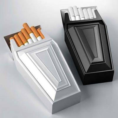 Cigaretpakker udformet som ligkiste