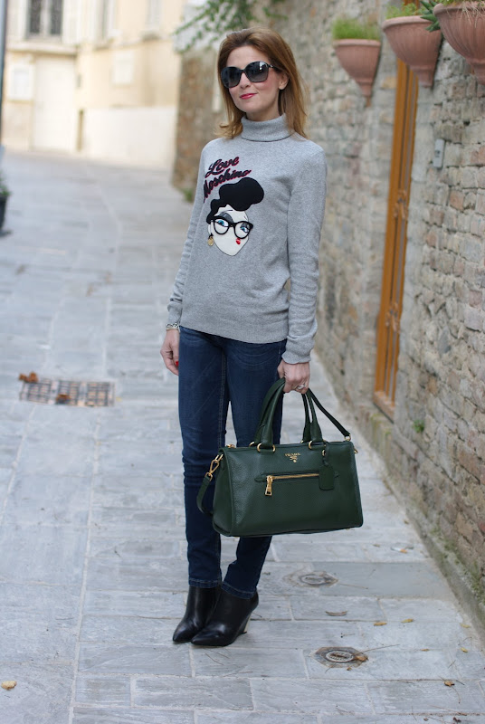 Moschino sweater, wedge ankle boots