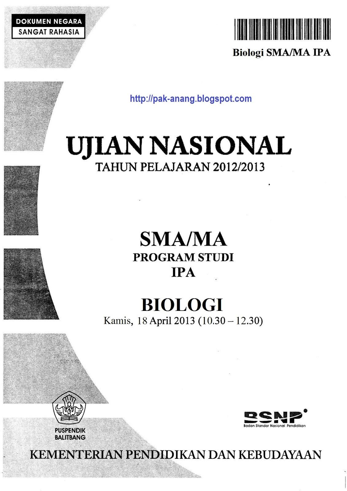 Berbagi Dan Belajar Naskah Soal Un Biologi Sma 2013 Paket 1